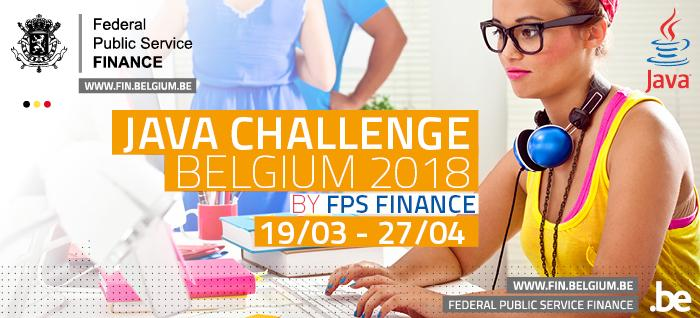 Banner Java Challenge Belgium 2018 by FPS Finance